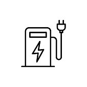 thin line electric car charge station icon on white background