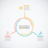 Thin line flat circle for infographic. Template for cycle diagram, graph, presentation and round chart. Business concept with 3 options, parts, steps or processes. Data visualization.