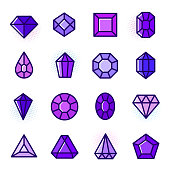Thin line Gems icons set, cartoon treasure outline vector illustration in trendy 2018 ultra violet color