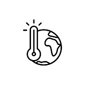 thin line global warming icon on white background