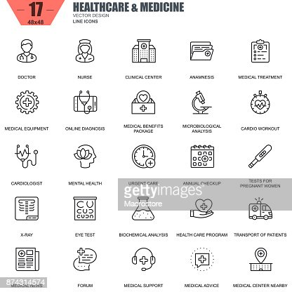 Thin line healthcare and medicine, hospital services icons : Vector Art