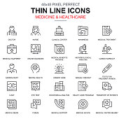 Thin line healthcare and medicine, services icons set for website and mobile site and apps. Contains such Icons as Doctor, Nurse. 48x48 Pixel Perfect. Linear pictogram pack. Vector illustration.