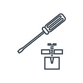 thin line icon screwdriver and screw