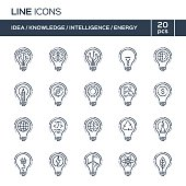 Thin line icons set. Ideas, knowledge, intelligence, energy. Vector illustration