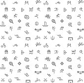 Thin line icons set of summer sport games. Icons for branding website and mobile website and apps with simple stroke. Simple linear pictogram.