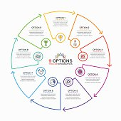 Thin line infographic template with 9 options. Vector illustration.