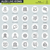 Thin line internet marketing and social network icons set for website and mobile site and apps. Contains such Icons as Avatar, Forum, Chat. 48x48 Pixel Perfect. Editable Stroke. Vector illustration.