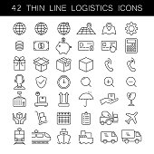 Thin line logistics icon set. Cargo and delivery service icons. Black outline, no fill, fully editable.