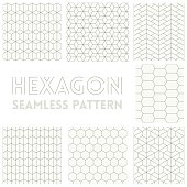Thin line of Hexagon seamless pattern set collection