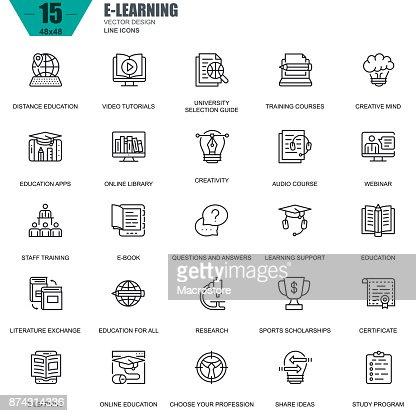 Dünne Linie Online-Bildung, e-Learning, e-Book Symbole : Vektorgrafik
