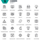 Thin line online education, e-learning, e-book icons set for website and mobile site and apps. Contains such Icons as Book, Library, Webinar. 48x48 Pixel Perfect. Editable Stroke. Vector illustration.