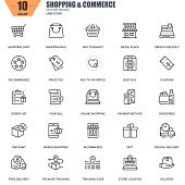 Thin line online shopping and e-commerce icons set for website and mobile site and apps. Contains such Icons as Basket, Delivery, Price Tag. 48x48 Pixel Perfect. Editable Stroke. Vector illustration.