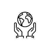 thin line save world, earth in hands icon on white background