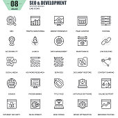 Thin line seo and development icons set for website and mobile site and apps. Contains such Icons as Hosting, Market Research, Programming. 48x48 Pixel Perfect. Editable Stroke. Vector illustration.
