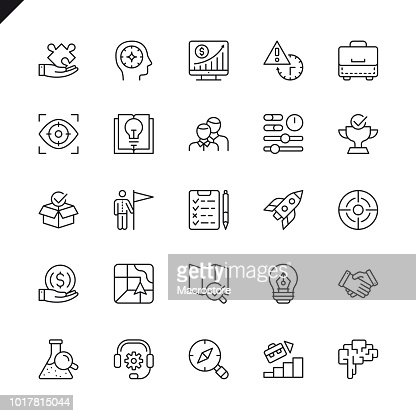 Thin line startup project and development elements icons set : Vector Art
