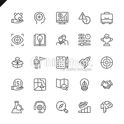 Thin line startup project and development elements icons set : stock vector