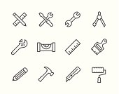 Simple set of tools related vector icons for your design