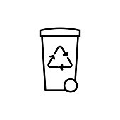thin line trash bin with recycle sign on white background
