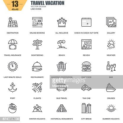 Thin line travel and tourism, for travel agencies icons : Arte vettoriale