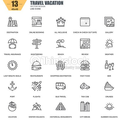 Thin line travel and tourism, for travel agencies icons : stock vector
