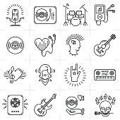 Thin lines music icons set. Rock music band, punk rocker, Heavy rock icon, Skull icon, Notes, instruments, guitar, dj. Vector music illustration