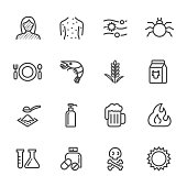 Thin lines web icon set. Causes Chronic Allergies and Allergy Symptoms and Treatment. Vector line icon