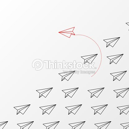 Think differently concept. Red airplane changing direction : stock vector