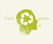 Think Green Recycle Reduce Reuse Eco Poster. Vector Creative Organic Illustration On Paper Background