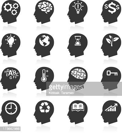 Thinking Heads Icons. : Vector Art