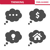 Professional, pixel aligned icons depicting various thinking concepts.