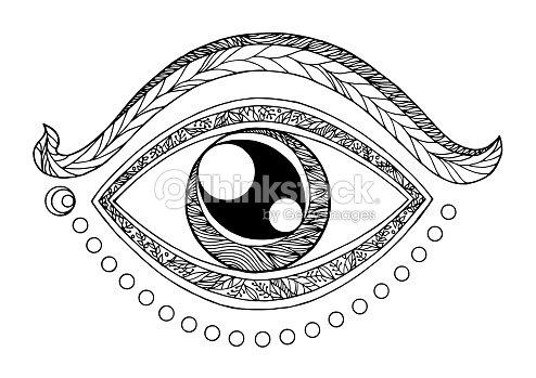 Third Eye Chakra Symbol Drawing Design Vector Illustration Hand