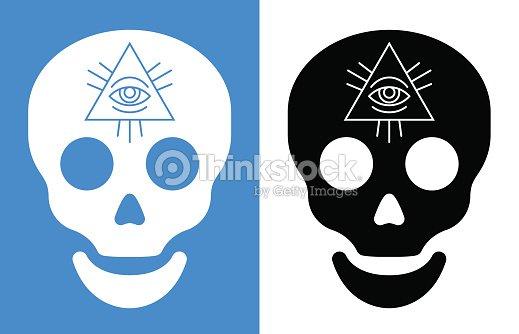 Third Eye Symbol Over Human Skull Vector Art Thinkstock