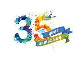 35 (thirty five) years anniversary. Vector watercolor splash paint