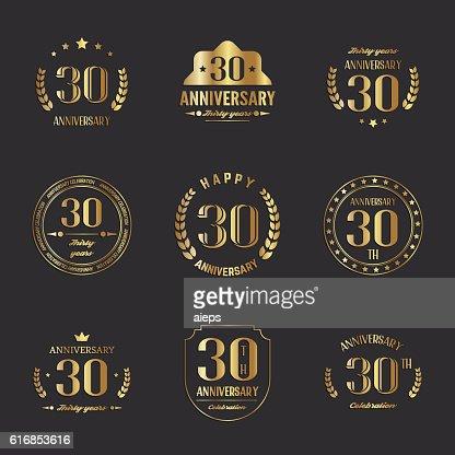 Thirty years anniversary celebration logotype collection. 30th anniversary logo. : Vector Art
