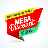 This weekend mega discount special offer sale banner, eps10