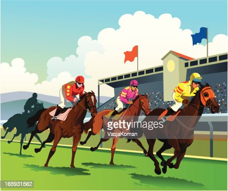 Thoroughbred Horses Racing To The Finish Line Vector Art
