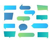 Thought shapes. Text chat speech rectangular bubbles, conversation talk shape, dialog flat shape. Vector text bubbles gradient set