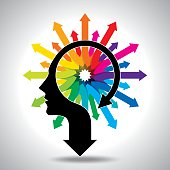 Thoughts and options, vector illustration of head with arrow