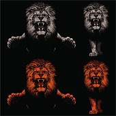 Front view of lions leaping and approaching. Hand drawings - lights and shadows style.