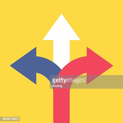 Three arrows pointing in different directions. Choose the way concept. : stock vector