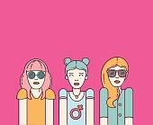 Three beautiful hipster women on pink background. Flat vector stylish girls. Female symbol.