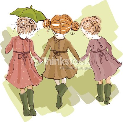 Three Best Friends Vector Art   Thinkstock