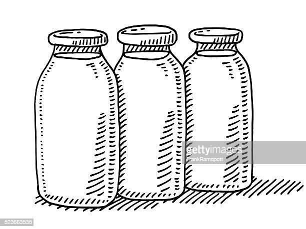 Three Bottles Of Milk Drawing