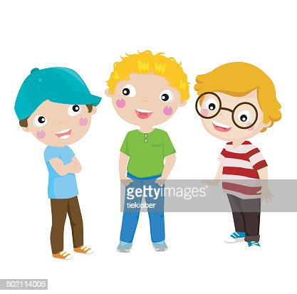 Three boys : Vector Art