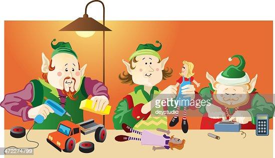 Three Christmas Elves Making Toys Under Lamp Light Vector ...