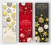 Three Christmas vertical banners with shining snowflakes, ribons, stars and colorful balls. New year and Christmas vector card illustration on light and dark background