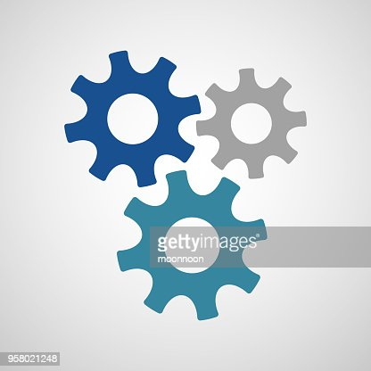 Three connected gears in different colors : stock vector