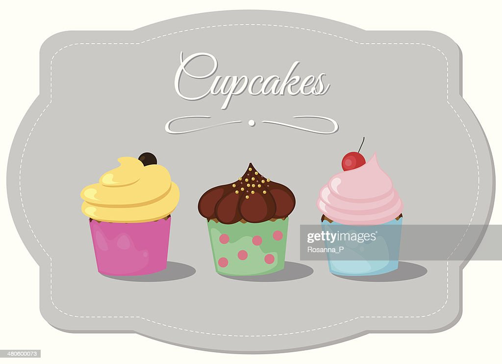 three creamy cupcakes for all occasions on grey tag : Vector Art