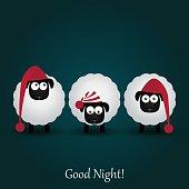 Three cute cartoon sheeps in funny hats. Good night. Vector illustartion.