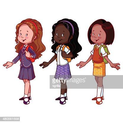 Three cute girls in school uniform : Vector Art